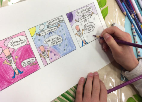 Une plance de BD dessinée par un élève qui expose à la Chartreuse d'Aillon